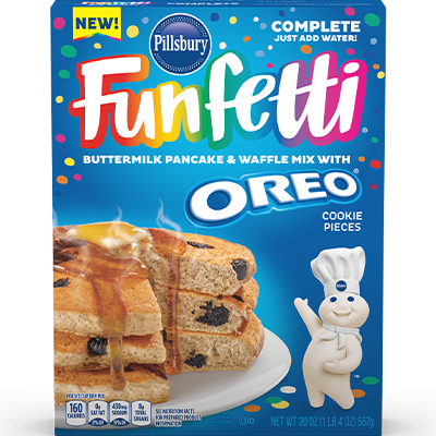 <strong>Funfetti<sup>®</sup></strong> Complete Pancake & Waffle Mix with OREO® Cookie Pieces